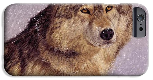 Snow Flake iPhone Cases - Snow Wolf iPhone Case by David Stribbling