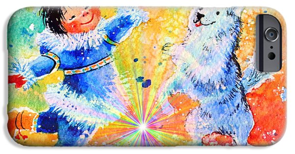 Huskies iPhone Cases - Snowball Fun iPhone Case by Hanne Lore Koehler