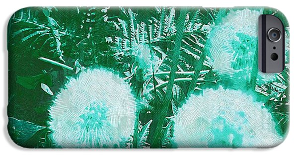 Contemplative Mixed Media iPhone Cases - Snowballs In The Garden iPhone Case by Pepita Selles