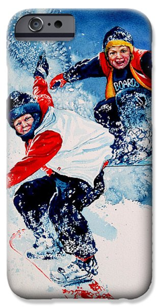 Kids Sports Art iPhone Cases - Snowboard Psyched iPhone Case by Hanne Lore Koehler