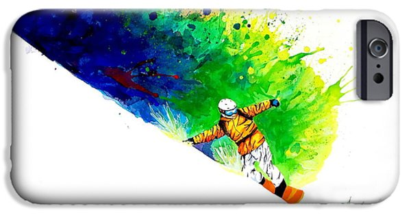 Ski Art iPhone Cases - Snowboarder 1 iPhone Case by Angee Skoubye