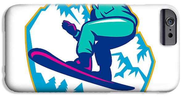 Mountains iPhone Cases - Snowboarder Holding Snowboard Alps Retro iPhone Case by Aloysius Patrimonio