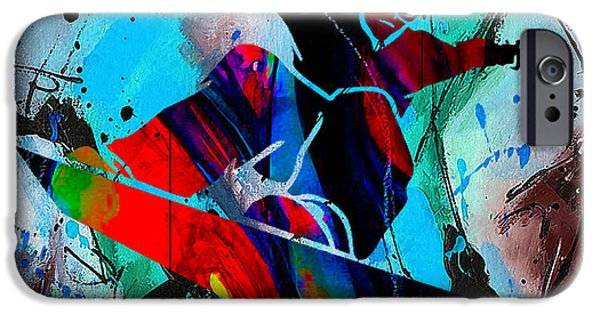 Alps iPhone Cases - Snowboarding Painting iPhone Case by Marvin Blaine