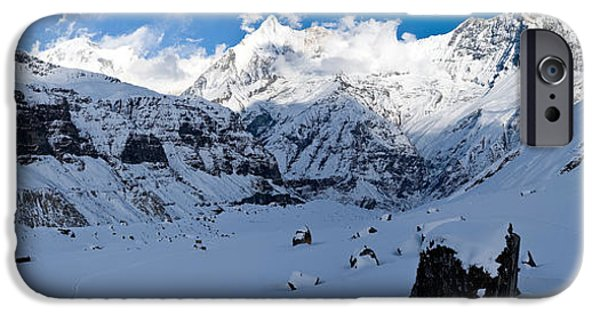 Mountain iPhone Cases - Snowcapped Mountain, Annapurna Base iPhone Case by Panoramic Images