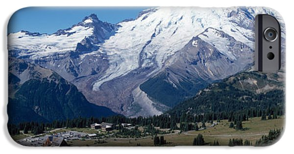 Mountain iPhone Cases - Snowcapped Mountain, Mt Rainier, Mt iPhone Case by Panoramic Images