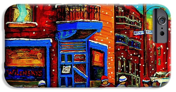 After School Hockey Paintings iPhone Cases - Snowday Hockey Practice Wilenskys Corner Fairmount And Clark Montreal City Scene Carole Spandau iPhone Case by Carole Spandau