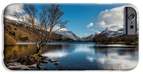 North Wales Digital Art iPhone Cases - Snowdon And Padarn Lake iPhone Case by Adrian Evans