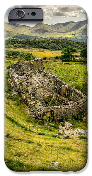 Dilapidated Digital Art iPhone Cases - Snowdon Ruin iPhone Case by Adrian Evans