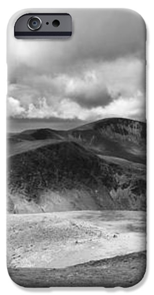 Snowdonia panorama in Black and White iPhone Case by Jane Rix