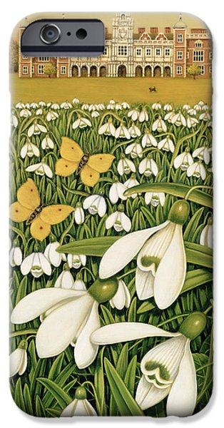 Stately iPhone Cases - Snowdrop Day, Hatfield House, 1999 Oil & Tempera On Field iPhone Case by Frances Broomfield