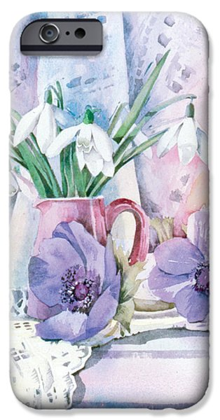 Indoor Still Life iPhone Cases - Snowdrops And Anemones iPhone Case by Julia Rowntree