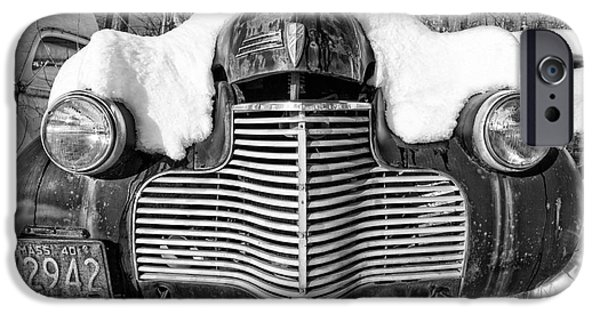 Winter Storm iPhone Cases - Snowed In a thick blanket of snow covering a vintage Chevy iPhone Case by Edward Fielding