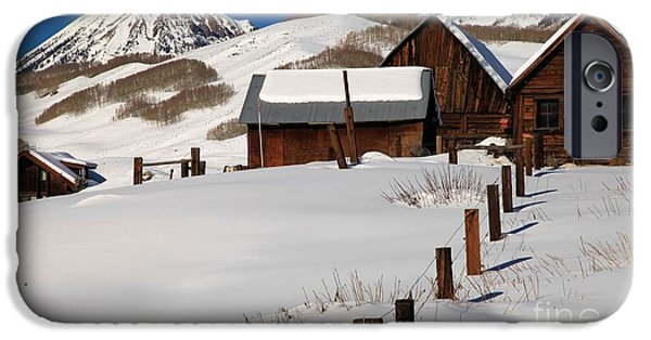 Old Barn iPhone Cases - Snowed In iPhone Case by Adam Jewell