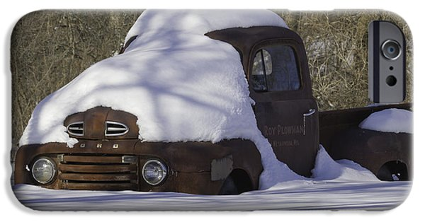 Delivery Truck iPhone Cases - Snowed In Oldie iPhone Case by Thomas Young