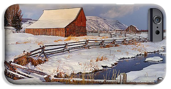 Red Barn In Winter iPhone Cases - Snowed In iPhone Case by Priscilla Burgers