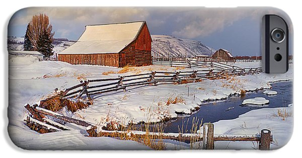 Best Sellers -  - Red Barn In Winter iPhone Cases - Snowed In iPhone Case by Priscilla Burgers