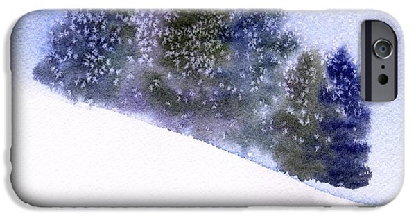 Winter Storm Paintings iPhone Cases - Snowfall iPhone Case by Anne Duke