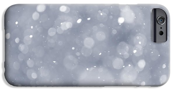 Snowy Night iPhone Cases - Snowfall background iPhone Case by Elena Elisseeva