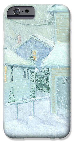 Snowy Scene iPhone Cases - Snowfall iPhone Case by Marguerite Chadwick-Juner