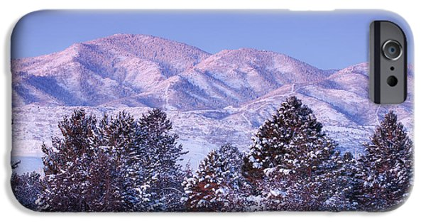 Winter Scene iPhone Cases - Snowfall Sunrise iPhone Case by Darren  White