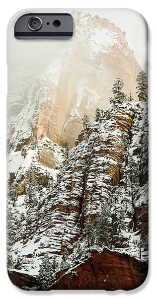 Snowfall Zion National Park Utah iPhone Case by Robert Ford