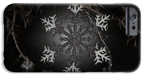 Christmas Greeting iPhone Cases - Snowflakes iPhone Case by Cynthia Guinn