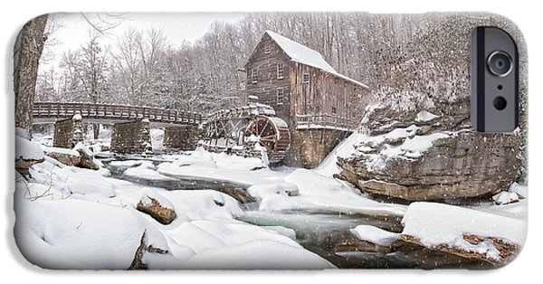 Grist Mill iPhone Cases - Snowglade Creek Grist Mill 1 iPhone Case by Emmanuel Panagiotakis