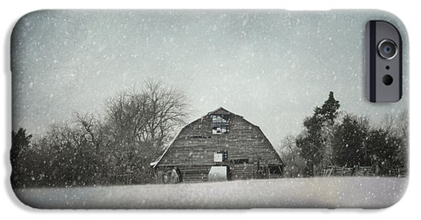 Snow Scene iPhone Cases - Snowing At The Old Barn iPhone Case by Jai Johnson