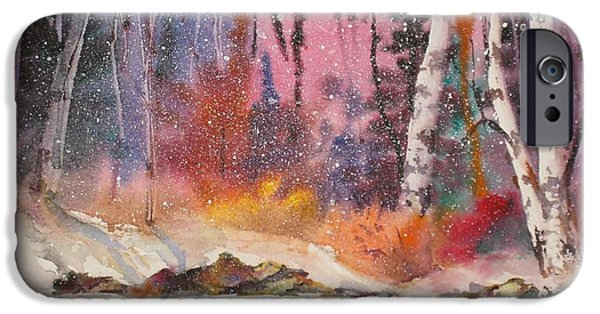 Park Scene Paintings iPhone Cases - Snowing iPhone Case by Mohamed Hirji