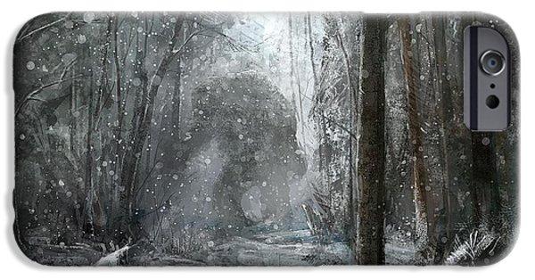 Landscapes Reliefs iPhone Cases - Snowing iPhone Case by Raphael  Sanzio