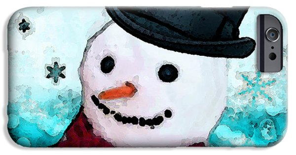 Christmas iPhone Cases - Snowman Christmas Art - Frosty iPhone Case by Sharon Cummings