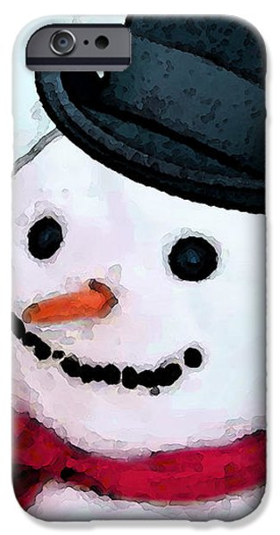 Snowman Christmas Art - Frosty iPhone Case by Sharon Cummings