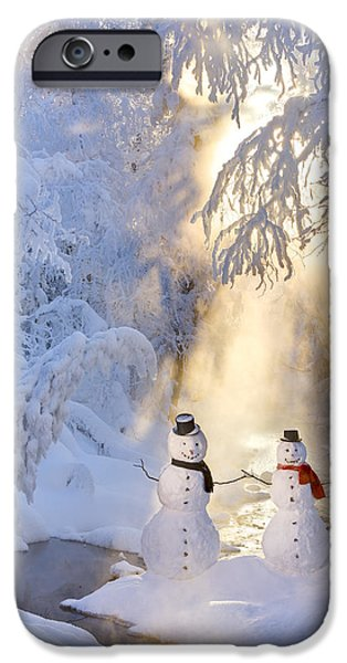 Women Together iPhone Cases - Snowman Couple Standing Next iPhone Case by Kevin Smith