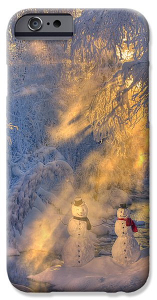 Women Together iPhone Cases - Snowman Couple Standing Next To A iPhone Case by Kevin Smith