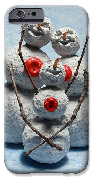 Child Sculptures iPhone Cases - Snowman Family Christmas Card iPhone Case by Adam Long