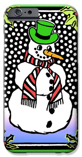 Blockprint iPhone Cases - Snowman iPhone Case by Nancy Griswold