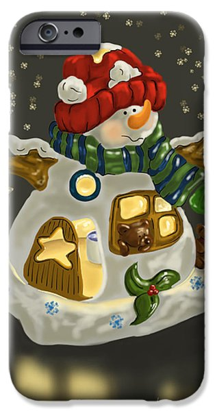 Ipad iPhone Cases - Snowman iPhone Case by Veronica Minozzi