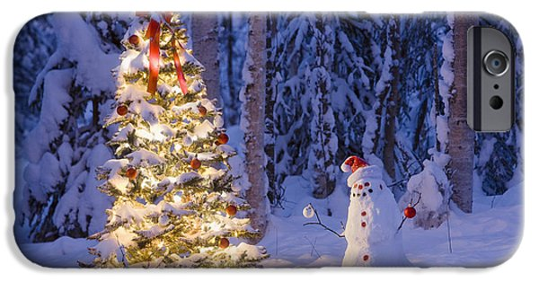 Snowy Night iPhone Cases - Snowman With Santa Hat Hanging iPhone Case by Kevin Smith