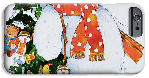 Snow iPhone Cases - Snowman With Skis, 1998 Wc On Paper iPhone Case by Christian Kaempf