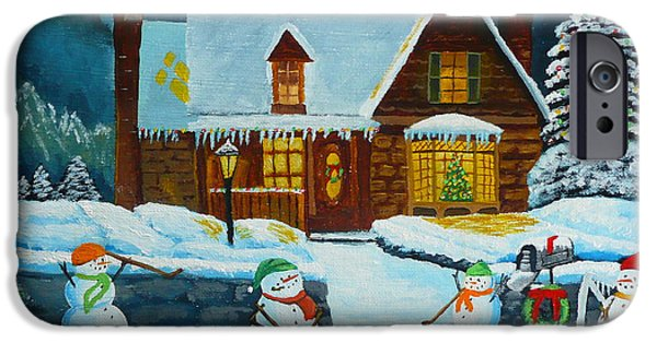 Hockey Paintings iPhone Cases - Snowmans Hockey iPhone Case by Anthony Dunphy