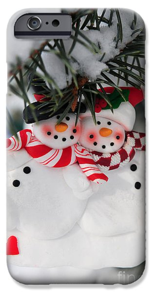 Snowy iPhone Cases - Snowmen Christmas ornament iPhone Case by Elena Elisseeva