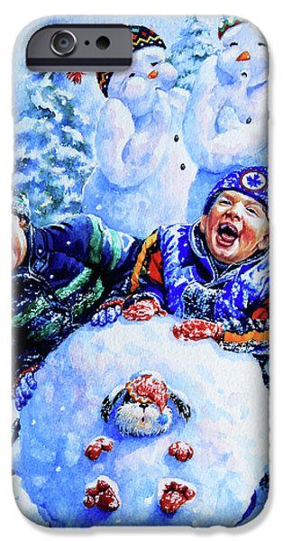 Dogs In Snow. Paintings iPhone Cases - Snowmen iPhone Case by Hanne Lore Koehler
