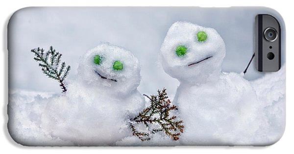 Snow iPhone Cases - Snowmen iPhone Case by Joana Kruse