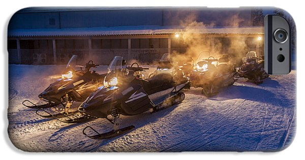 Wintertime iPhone Cases - Snowmobiles In The Freezing Cold iPhone Case by Panoramic Images