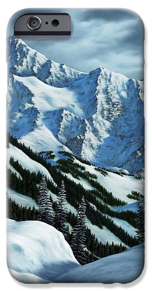 Snowscape Paintings iPhone Cases - Snowpack iPhone Case by Rick Bainbridge