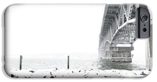 Yorktown Virginia iPhone Cases - Snowstorm Under the Bridge iPhone Case by Nancy Comley