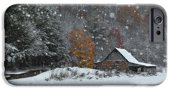 Snow Drifts Photographs iPhone Cases - Snowy Barn iPhone Case by Benanne Stiens