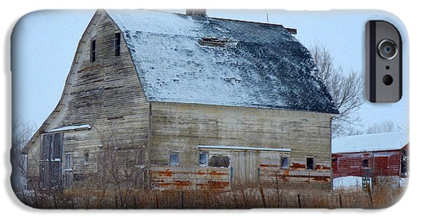 Old Barns iPhone Cases - Snowy Barn iPhone Case by Gary Mosman