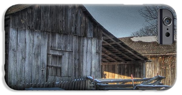 Rustic Barns iPhone Cases - Snowy Barn iPhone Case by Jane Linders
