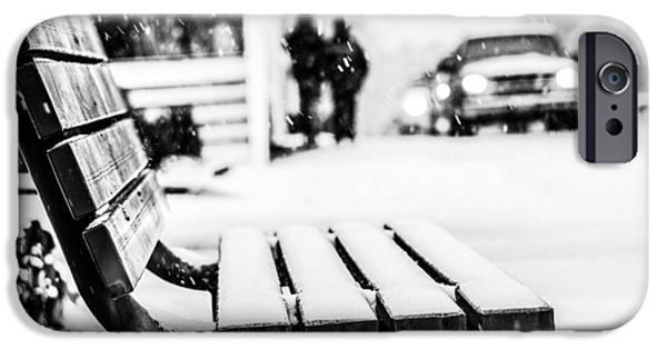 Snow iPhone Cases - Snowy Bench iPhone Case by Shelby  Young